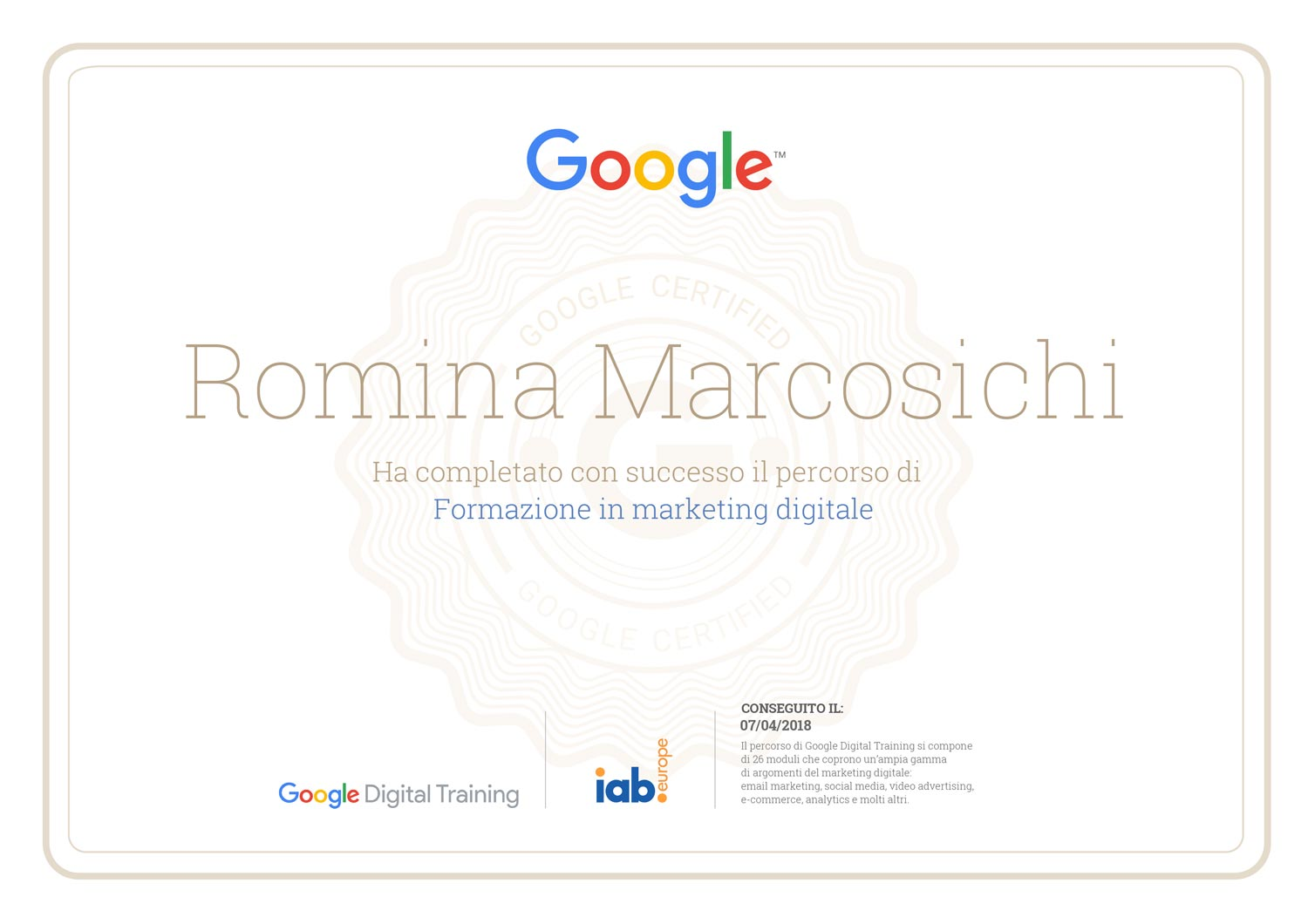 Certificazione Digital Marketing - Romina